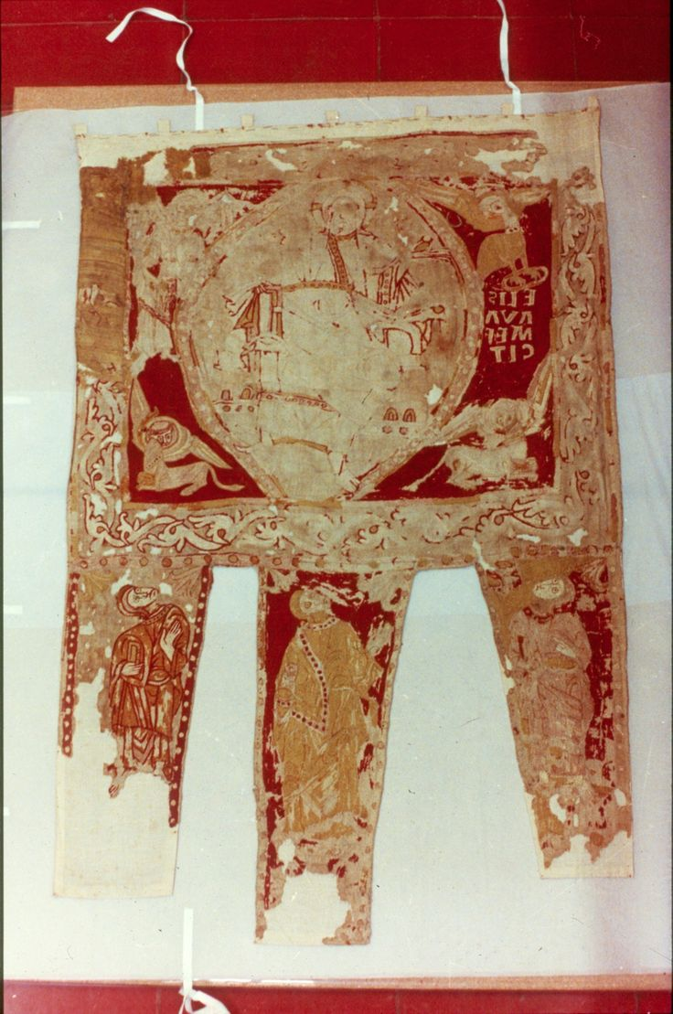 12th-century banner, (located) Barcelona, it is embroidered not painted.  https://es.wikipedia.org/wiki/Estandarte_de_Sant_Ot