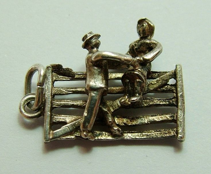 1960's Silver Charm Couple Sitting on a Five Bar Gate #SterlingSilverCharms