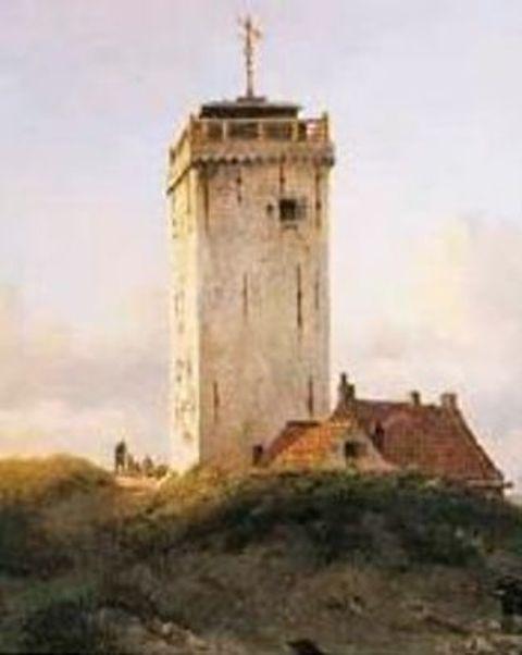 De vuurtoren van Katwijk op een schilderij uit 1848 van Willem Anthonie Deventer (1824-1893).