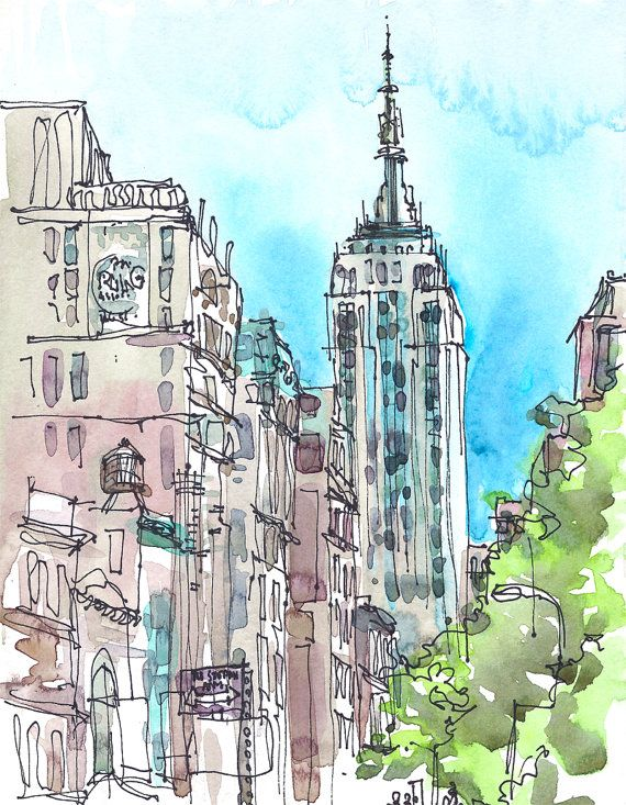 NYC. Empire State Building, an urban sketch in blue, green and grey