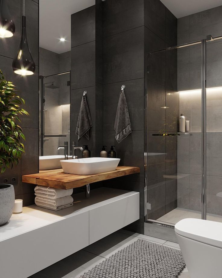 Dunkles Badezimmer mit transparenter Dusche. ~ #in…