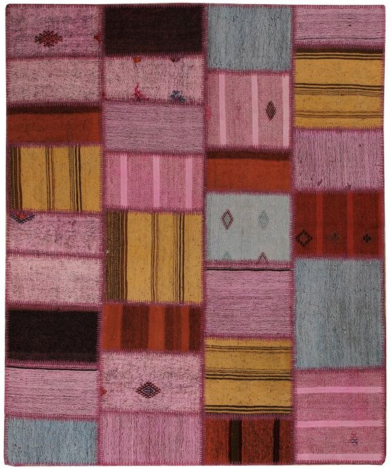 Pinky Rug Patchwork Kilim Turkish Area By Carpetrug
