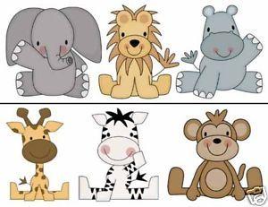 Jungle Border Decals Baby Boy Nursery Kids Room Zoo Animals Wall ...