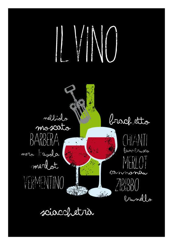 Il vino - Typography poster art print italian cooking wine letterpress - Kitchen wall decor - italy - gift - wall decor - handwritten
