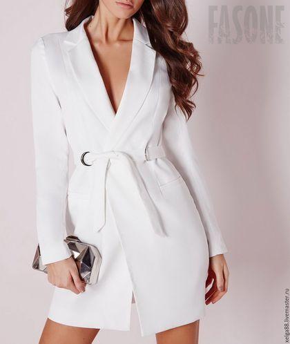 Платья ручной работы. Ярмарка Мастеров - ручная работа. Купить Платье пиджак белое с поясом. Платье белое. Handmade.