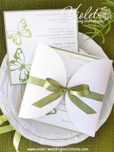 #butterfly #green wedding invitation from www.violet-weddinginvitations.com