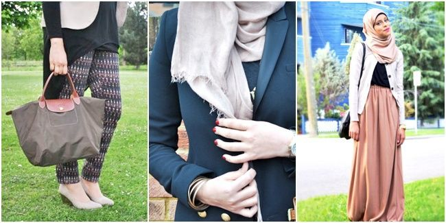 Vemale.com - Inspirasi fashion untuk yang berhijab selama musim hujan. Tetap kalem dan santun dalam balutan mix and match yang fashionable.�