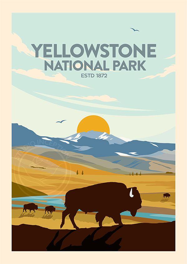 Bison Grazing In Yellowstone National Park Travel Poster Print Etsy In 2020 National Park Posters National Parks Trip Yellowstone National Park