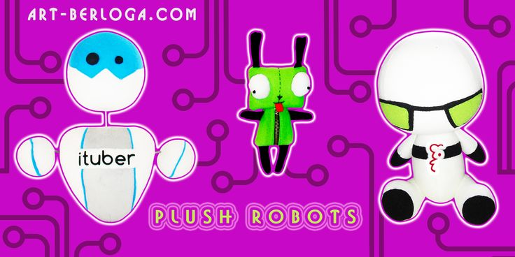 Individual plush robots & hero IT collection! Custom plush advertising design! Corporate toys with logo. Soft Promo Products http://world.art-berloga.com/