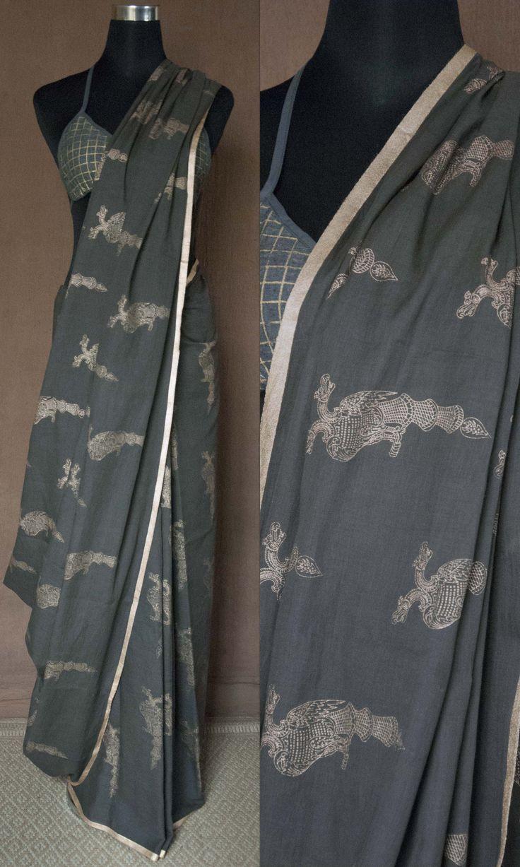 l14c Gandaberunda Imprint Hand Woven Soft Mulmul Cotton Sari