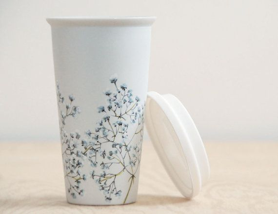 Eco-Friendly Ceramic Travel Mug - Babys Breath Collection - made to order
