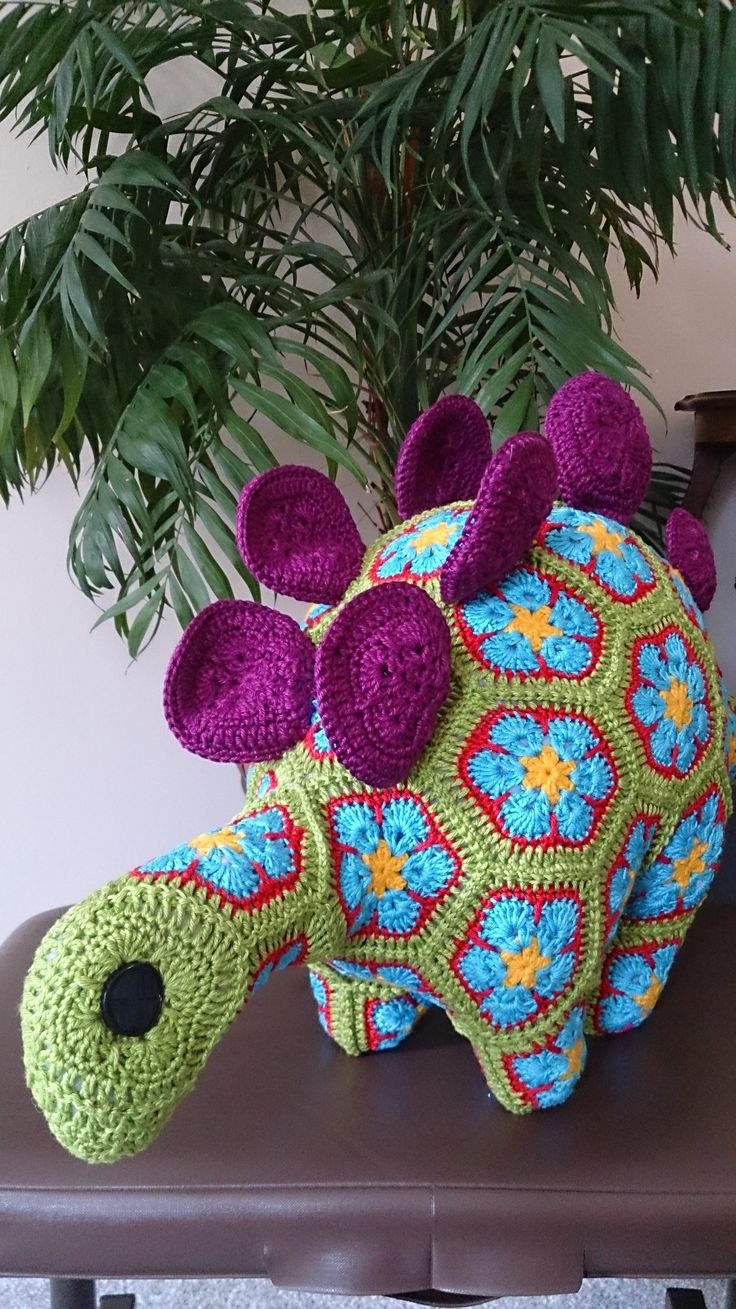 Taken from the Heidi Bears Pattern range this stegosaurus can be found (in it's completed form) on Crotchety Things on Facebook: https://www.facebook.com/kuteCcrafts