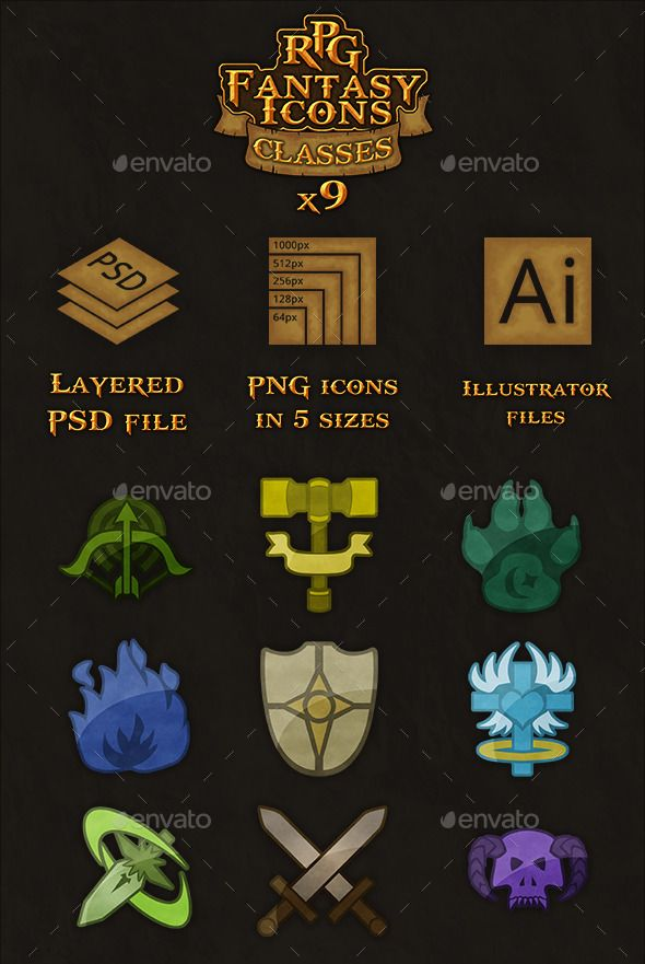 9 RPG Heroic Fantasy Classes Icons Mobile Game User Interface Template PSD, Vector AI, Transparent PNG. Download here: http://graphicriver.net/item/9-rpg-heroicfantasy-classes-icons/2341525?s_rank=309&ref=yinkira
