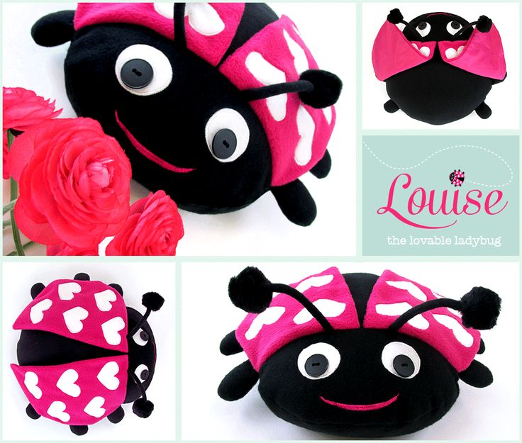 Ladybug Pillow Pal with Heart Wings