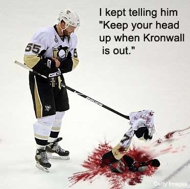 Aftermath of Kronwall hit on Malkin :D