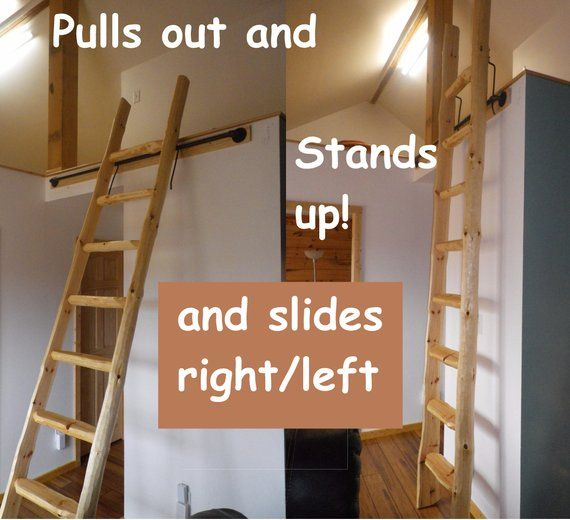 Library Loft Ladders Stands Up Custom Made To Fit Etsy Loft Ladder Ladder Stands Library Ladder