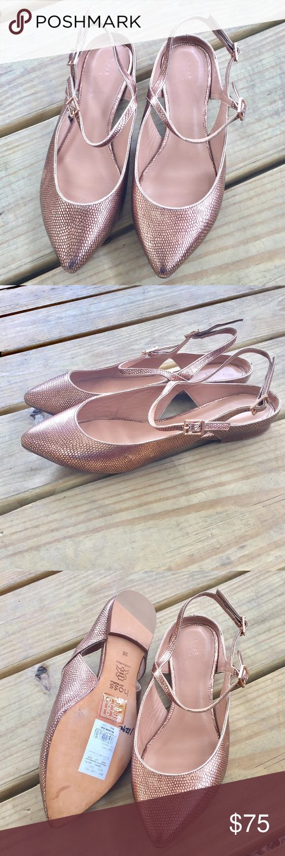 Hoss Intropia Slingback Flats!! Beautiful salmon colored metallic flats featuring double buckle straps! I won't be able to model these because these aren't my size. These were never worn! **Small tear on heel but not noticeable when worn** Shoes Flats & Loafers