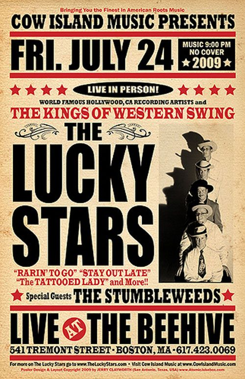 The Lucky Stars @ The Beehive (Boston, MA) 7/24/2009 Show Poster