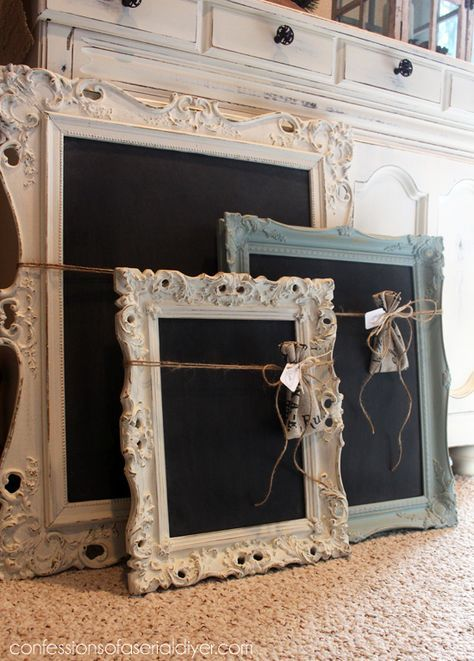 These fancy frames turned chalkboards are a great project to use up leftover chalk paint!                                                                                                                                                     Más