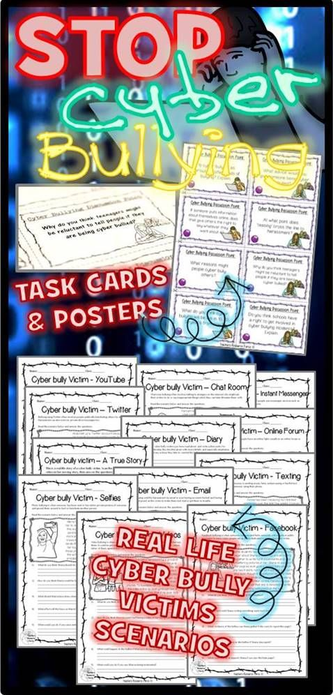 A very powerful lesson to help stop Cyber Bullying. This resource includes: Activities, Posters and Task Cards for teens!