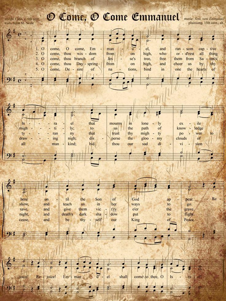 Grungy Aged Vintage Christmas Carols-  O Come, O Come Emmanuel