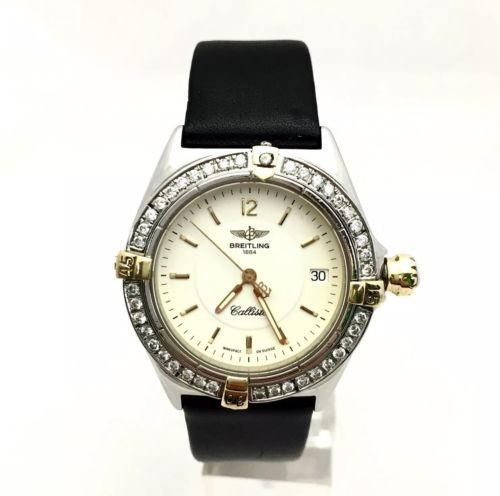 34mm BREITLING 1884 CALLISTO SS Unisex Watch w/ Rotating Diamond Bezel in Box