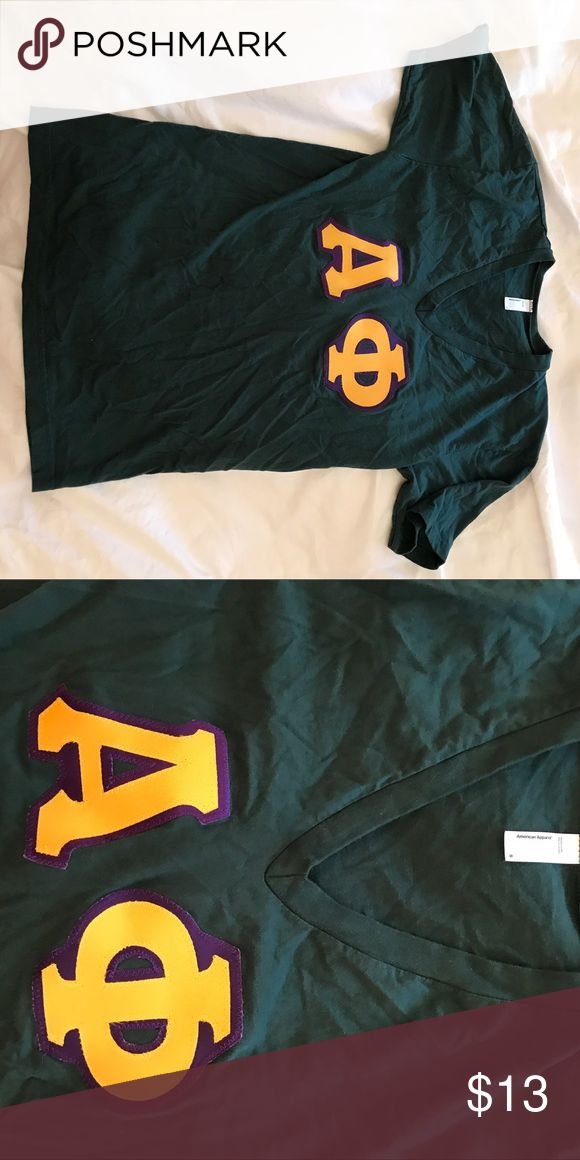 Alpha Phi Power Letters Tee Emerald green, gold, and purple American Apparel Tops Tees - Short Sleeve