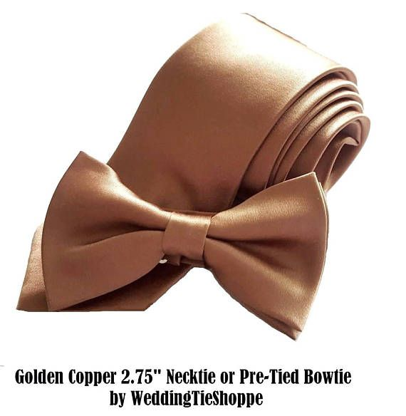 Copper Tie Wedding Necktie Bowtie or Pocket Square Men's