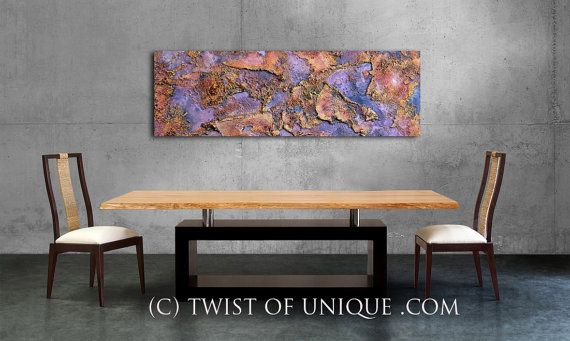 Industrial Metal Abstract / ORIGINAL Painting / 48x15 /