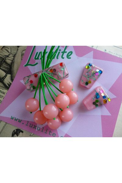 Pale Pink! Handmade 40s 50s pale pink confetti lucite style novelty cherry brooch & earring set by Luxulite at Campbell Crafts