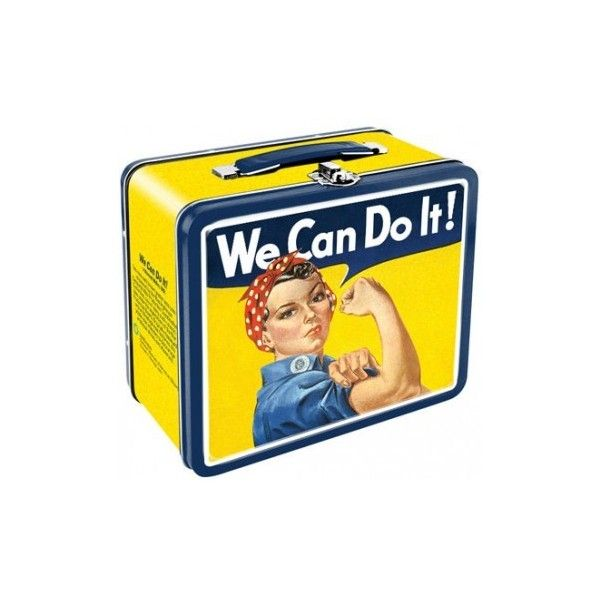 Rosie Riverter Tin Lunch Box We Can Do It! ($15) ❤ liked on Polyvore featuring home, kitchen & dining, food storage containers, tin food storage containers and tin lunch boxes