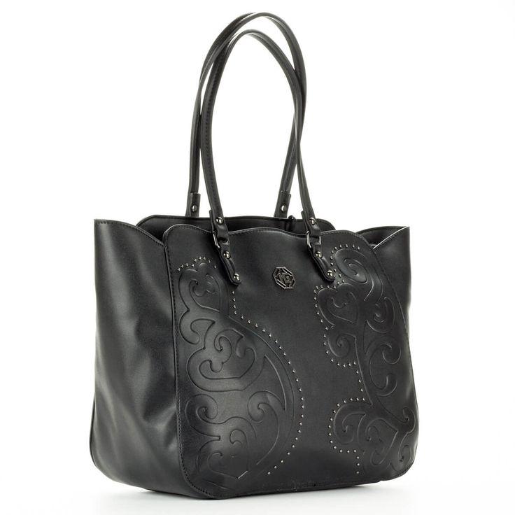 Marina Galanti fekete női táska nagy belső térrel, belsejében cipzáros és telefon tartó zseb kapott helyet. Elejét nyomott minta és apró szegecsek díszítik  #bags #fashionbags