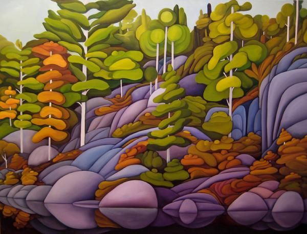 """Algonquin Shores 36"""" by 48"""" Oil on Canvas by Deb Gibson"""