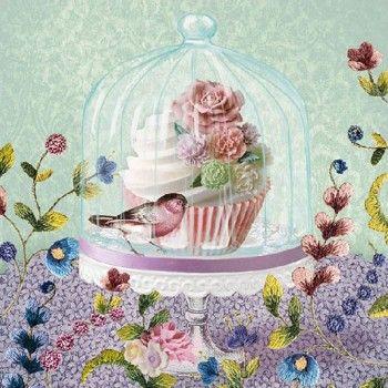 Servilletas para decoupage Cupcake in Glass 33 X 33 cm.