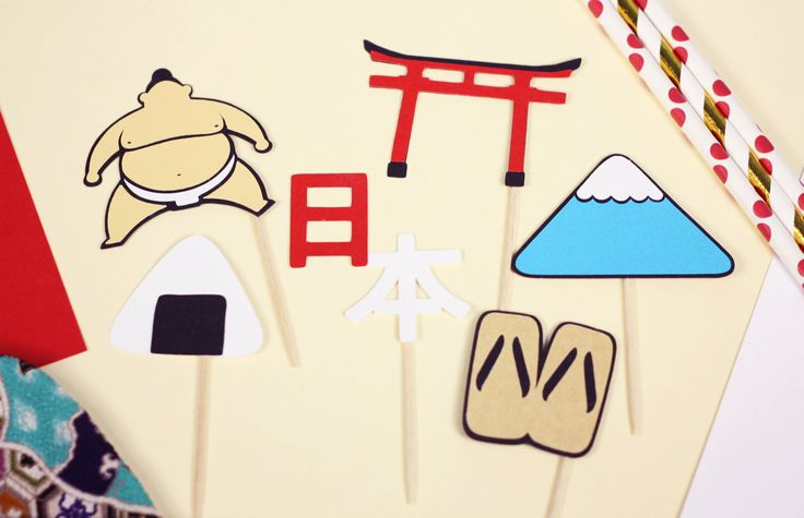 Japan Toppers, Japanese Theme Party, Sumo Wrestler, Torii Gate, Mount Fuji, Geta Sandals, Onigiri, Going Away Party, Cupcake Decor by HappyMademoiselle on Etsy