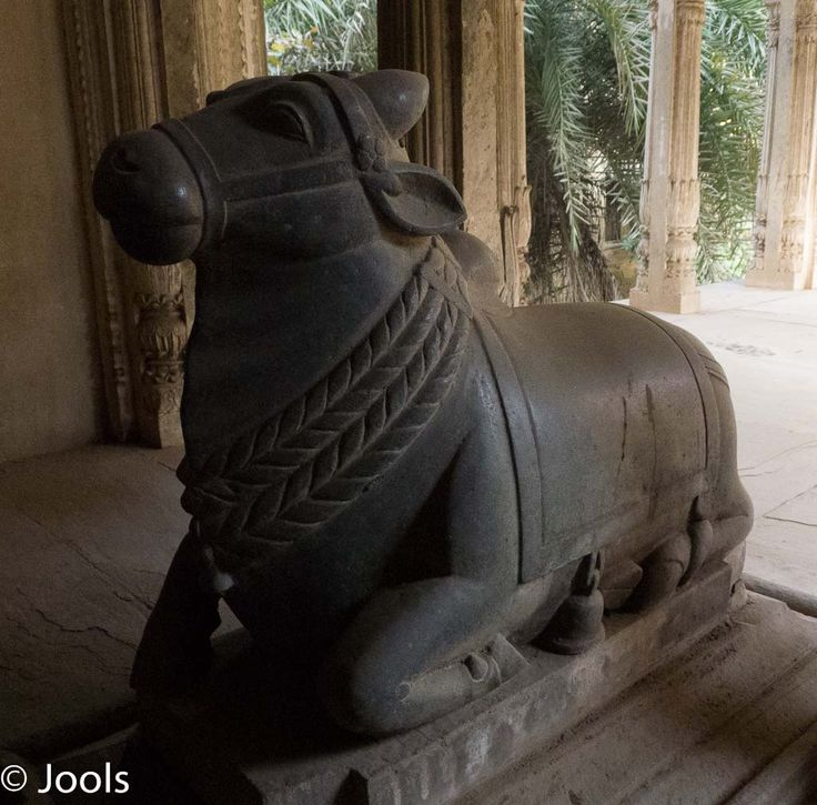 Carved bull in front of a mausoleum, Deo Bargh.