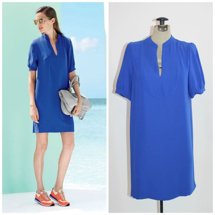 J.Crew Blue Crepe Shift Wear to Work Dress 4 #JCrew #Shift #WeartoWork