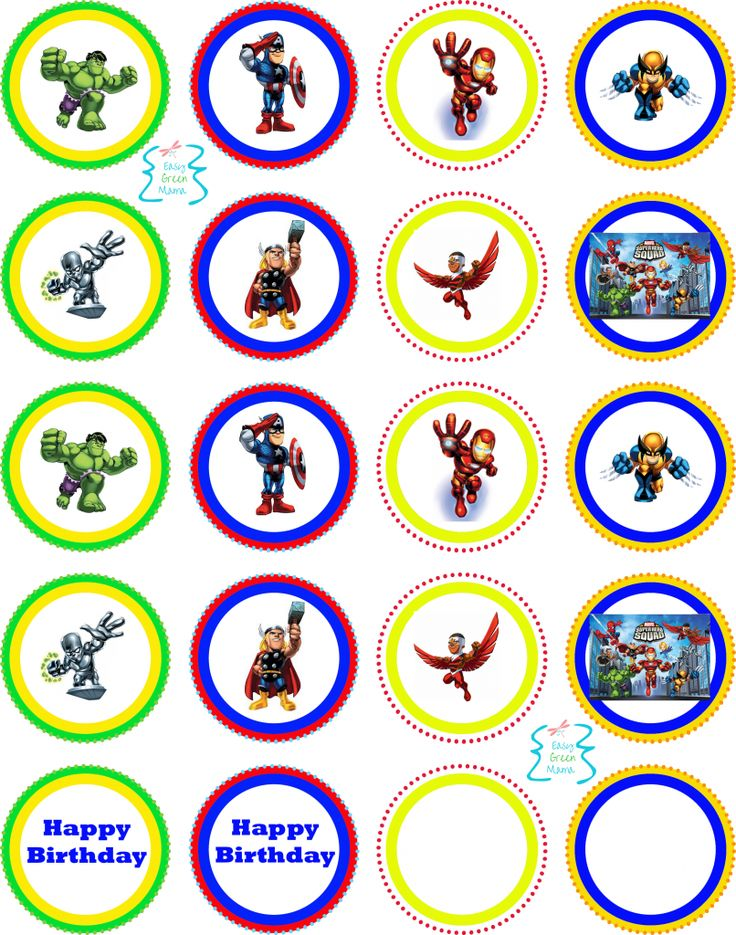 Free superhero printables: superhero squad cupcake party toppers. Avengers, ironman, wolverine, thor, captain america, hulk, silver surfer birthday.