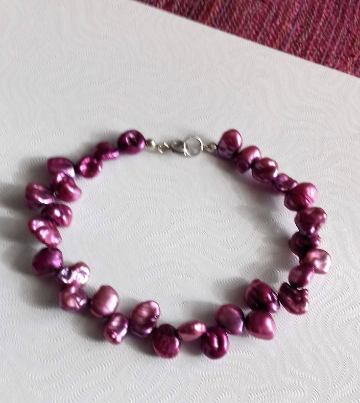 Fuchsia Pink Keshi Pearl Bracelet with 925 Sterling Silver clasp