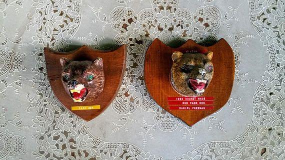Vintage Cub Scout Bear Chalkware Plaques Troop 226