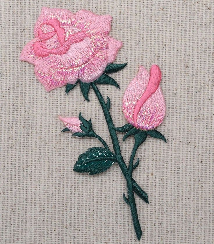 Iron On Embroidered Applique Patch Large Pink Roses on Stem 153103I