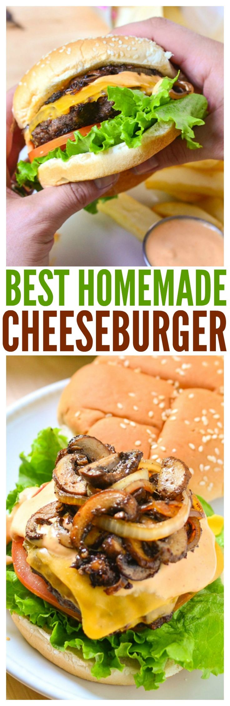 The best cheeseburger recipe! From the spicy mayo sauce crispy baked french fries this is an ultimate grilled recipe for the bbq party.  via @CourtneysSweets