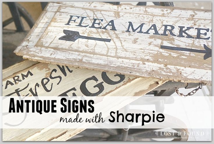 How to make an antique sign with some old wood, a sharpie and PicMonkey.