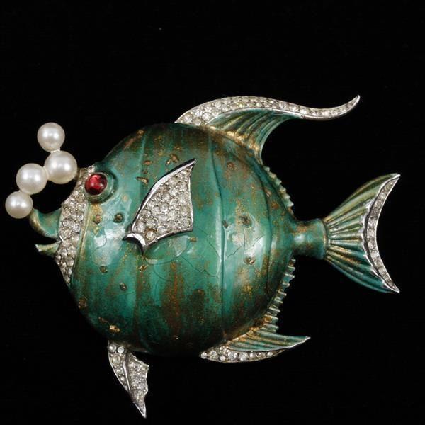 Trifari 'Alfred Philippe' green enamel bubble fish pin with pave rhine.....
