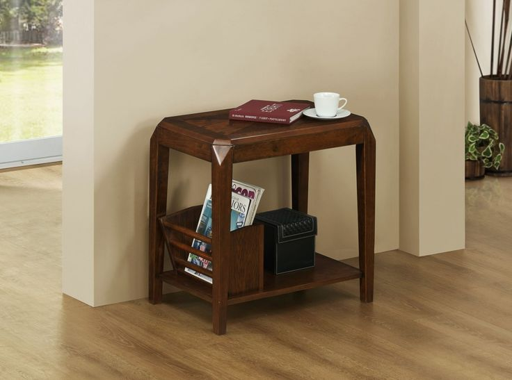 Monarch Specialties Veneer Magazine Table, Brown/Oak. This transitional magazine table is not only stylish for your living space, but it is also multi-functional. Specifically, it features a place to hold your magazines, a bottom shelf, and a triangle-designed veneer top to place your coffee cup as you read the latest novel. With its brown oak finish, smooth surface, and tapered legs, this piece is one of a kind.