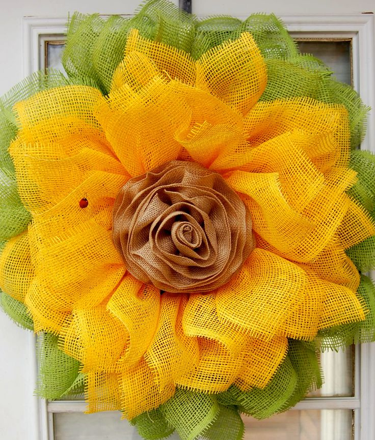 Sunflower Wreath, Paper mesh Deco Wreath, Spring Wreath, Summer Wreath by HangingTouches on Etsy