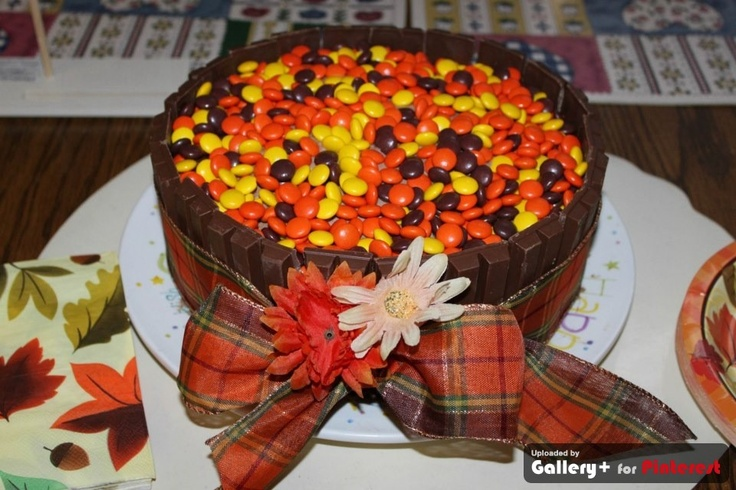 Fall Birthday cake - basket of reese's pieces