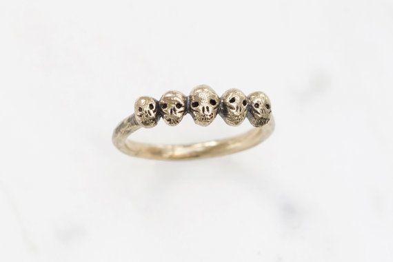 Golden row of tiny skulls ring  ON SALE 30 off til by datter, £23.80