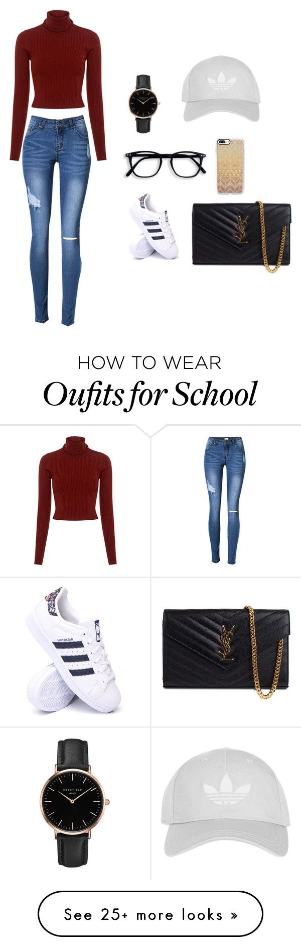 """""""Back to school"""" by ginnadwipuetribadjadji on Polyvore featuring A.L.C., adidas, Yves Saint Laurent, Casetify and Topshop"""