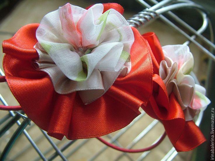 Купить Резинки для волос Пасхальные бантики - ярко-красный, цветочный, резинки для волос, резинки для девочки
